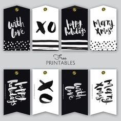 graphic about Printable Christmas Tags Black and White identify Free of charge Printable Hand-Lettered Black and White Xmas Present
