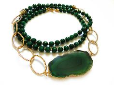 Emerald Green Agate Necklace, Geode Slice, Gold, Statement Necklace, Chunky Chain // by LostWithoutColor