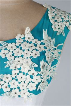 Vintage 1950's White Turquoise Linen Macrame Lace Cocktail Dress