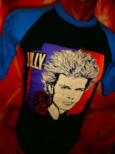 33eb2162de9 Vintage Billy Idol Rebel Yell Concert Baseball Tee Tour T-Shirt 1980's Sz.  Small