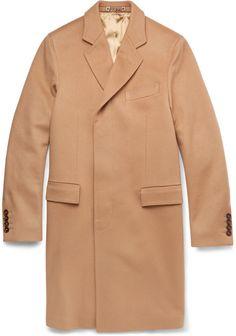 SAINT LAURENT Double-breasted fur-trimmed wool coat | Mens Wool ...