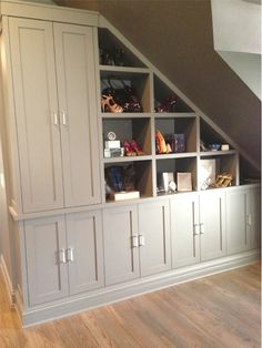 Before and After Built Ins Basement under stairs? Before and After Built Ins Basement under stairs? Staircase Storage, Basement Storage, Diy Storage, Under Stair Storage, Storage Shelves, Shoe Storage, Built In Storage, Small House Storage Ideas, Storage Units