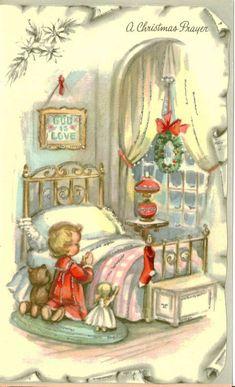 Vintage Christmas Card UNUSED Bedtime Prayers Silver