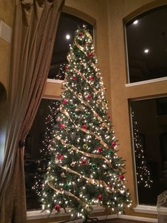 12ft Christmas Tree With Ribbon Red Green And Gold 12 Ft Christmas Tree Christmas