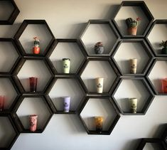 Hexagon shelves make a great way to display your products to your customers