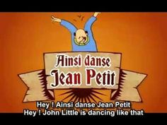 """Jean Petit qui danse"" is a famous ""popular"" song. It's about Jean Petit (John Little), who dances with different parts of his body. All copyrights (video, m. How To Speak French, Learn French, Jeans Petite, French Songs, Funny French, Cute Songs, French Classic, French Resources, In This House We"