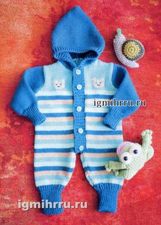 Для малыша до 3 месяцев. Теплый полосатый комбинезон с капюшоном. Вязание спицами для детей