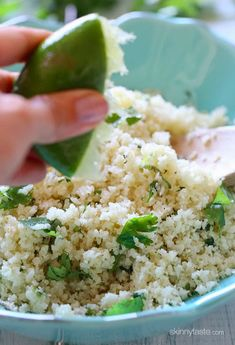 "Cilantro Lime Cauliflower ""Rice"". A fantastic low-carb, grain-free stand in for rice when you need a little carb detox"