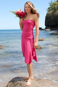 Pink cocktail dress available in petite and plus size! #beach #wedding #destination #vacation #bridesmaid #dresses