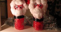 Santa's from water bottles.    We used: Water bottle, red crepe paper, electrical tape, glue, cotton balls, scissor...