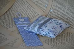 FREE SHIPPING:  Pin Cushion and Bookmark Set, Pin Cushion, Bookmark, Vintage Style, Ribbon, Lace, Grey, Blue, White, Floral by HeartmadeSouthAfrica on Etsy Vintage Style, Vintage Fashion, Pin Cushions, Ribbon, Free Shipping, Trending Outfits, Grey, Unique Jewelry, Lace
