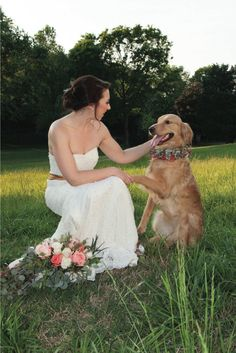 Golden retriever at wedding. See more from this Knoxville wedding inspiration collection featuring a pink and gold theme! Pics by @cameraloveart with TowersBrooks Photography, flowers by @melissatimm, hair and makeup by @southernsirens | The Pink Bride® www.thepinkbride.com