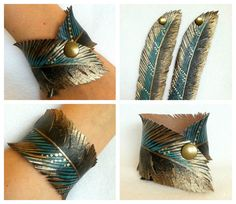 Feather Cut Cuff, Gold Turquoise Feather Half Cut Out Bracelet, Faux Leather Hand Painted, Handmade, Gifts for Her