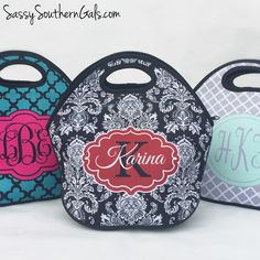 New to SassySouthernGals on Etsy: Monogrammed Lunchbox Monogrammed Lunch Bags Insulated Neoprene Monogrammed Lunch Bag Personalized Lunch Tote Design Your Own (36.00 USD)