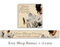 Personalized Pre-made Etsy shop banner & avatar Etsy shop set Digital Download made by FrezeArt