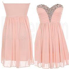 Pink Sweet Heart Chiffon Sleeveless Short Prom Dress