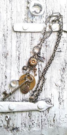 Assemblage Key Necklace Repurposed NeCklace by SecretStashBoutique