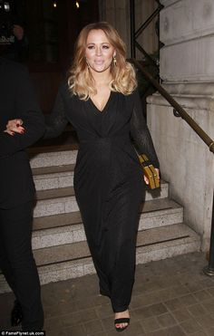 0e88288523e4 Kimberley Walsh displays post-pregnancy figure in black gown