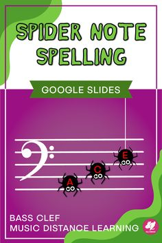 Spider Spelling is a fun activity that you can assign through Google Classroom for practicing bass clef note names on the staff! The Halloween theme is perfect for October distance learning assignments and useful for assessments with beginning band and orchestra.