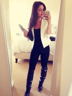 All black with a white blazer.. This is sooo cute to go out on a cold day... knee high boots for days!