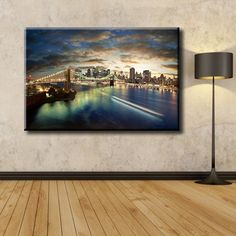 Large Overal Box Framed Canvas Print Wall Art Decor Room Artwork Stretched Wrapped Painting Hanging Decorative Modern Home & Living Popular Known New York Ny Brooklyn Bridge Manhattan Night City Cityscape Framed Canvas Prints, Artwork Prints, Canvas Frame, Decor Room, Wall Art Decor, Wall Stickers Murals, Night City, Box Frames