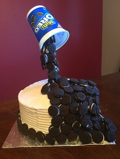 Just finished this beauty!!   Oreo anti-gravity cake!!   Chocolate cake jammed packed with Oreo cream filling. Finished with a vanilla buttercream and mini Oreos
