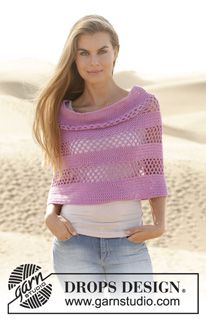 "Orchidea - Crochet DROPS poncho with double crochet and lace pattern in ""Cotton Light"". Size S-XXXL - Free pattern by DROPS Design"