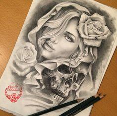 Drawing skull roses