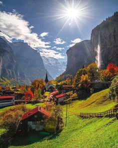 Lauterbrunnen, Switzerland Photography by Places To Travel, Places To See, Travel Destinations, Wonderful Places, Beautiful Places, Beautiful Sunset, Landscape Photography, Travel Photography, Nature Photography
