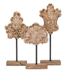 "Angelil Floral Sculptures on Stands - Set of 3 16-20-22.5""""h x 8.5-9-8""""w x 3.25"""""