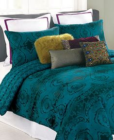 Nanette Lepore Villa Teal Baroque Comforter and Duvet Cover Sets - Bedding Collections - Bed & Bath - Macy's