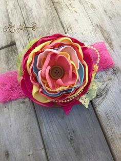 M2M Sweet Honey Spring Fling satin flower bow by LittleSparrowBows #littlesparrowbows #m2mshclothing #sweethoney #springfling