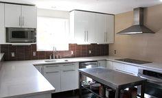 shiny white kitchen brown back splash tiles