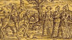 Banquo and Macbeth are greeted by the three witches. From a History of Witchcraft Persecutions.