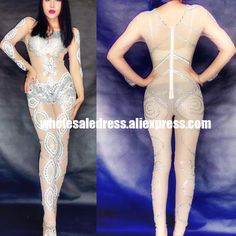 c2f2fbe224b34 Jumpsuits Rompers Women Outfit Celebrate Party Rhinestone Bodysuit Women  Nightclub Costume Stage Party Singer Wear-in Ballroom from Novelty &  Special Use on ...