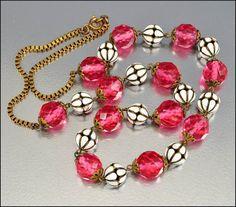 Enamel Glass Bead Czech Necklace Art Deco Jewelry Gold Brass Long Vintage Jewelry 1930s