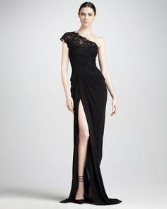 Monique Lhuillier Lace-Bodice Jersey Gown