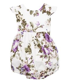 Love this Violet Floral Angel-Sleeve Romper - Infant & Toddler by Tutus by Tutu AND Lulu on #zulily! #zulilyfinds