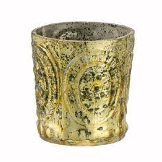 Antiqued Gold Small Votive with Fleur-de-Lis