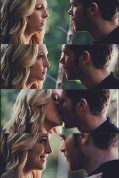 I love the amazed look on Klaus' face when he felt was approaching him and the fact that she kissed him first! Klaus E Caroline, Caroline Forbes, Vampire Diaries Seasons, Vampire Diaries The Originals, Steve R Mcqueen, Stefan E Elena, Best Tv Couples, Candice King, Michael Trevino