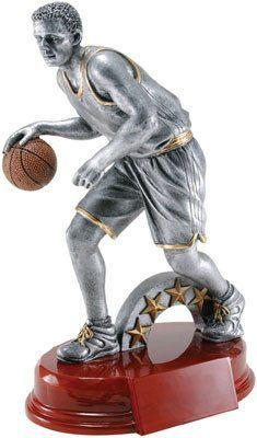 """Male Basketball Trophy - 9.25"""" Gold/Pewter Resin"""