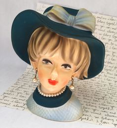 Doris Day Vintage Napcoware Lady Head Vase, Blue Hat Lady Vase. Check her out in my shop! https://www.etsy.com/listing/467019306/lady-head-planter-ceramic-bust-vintage #ladyvase #ladyheadvase #headvase #ladyhead #dorisday #bluehat #ceramicvase #vintageceramics