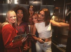 Victoria being the only one drinking wine in the elevator. | 43 Reasons Why The Spice Girls Are The Best Girl Group Of AllTime