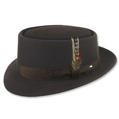 Stingy Brim Hats Brown Wool Felt Porkpie Style