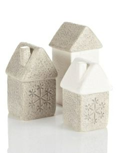 Ceramic house room decorations with snowflakes