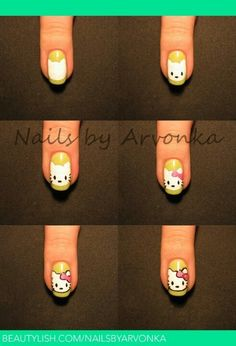 Super cute and Easy Hello Kitty Nail tutorial. 🙂 Super cute and Easy Hello Kitty Nail tutorial. Do It Yourself Nails, Do It Yourself Fashion, Diy Nails Tutorial, Nail Tutorials, Nails For Kids, Girls Nails, Creative Nail Designs, Diy Nail Designs, Love Nails