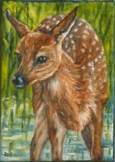"""""""Spring Fawn"""" Oil on canvas, 7"""" x 5"""" x 3/4"""". The sun is lighting up the grasses around the shallow pond this fawn is enjoying.  I like the reflections of the water that sparkle like her eyes and spots.  The 3/4"""" sides are painting so framing is optional."""