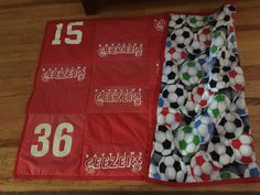 Geezer Blanket: made out of our old jerseys. Not shown in this picture is that there is a bottle opener attached to each corner. Making Out, Bottle Opener, Corner, Blanket, Rug, Blankets, Bottle Openers