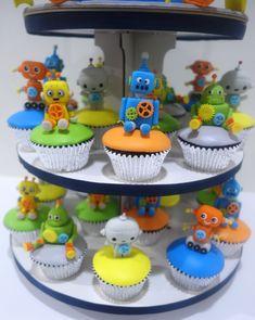 1st Boy Birthday, 3rd Birthday Parties, Birthday Cakes, Birthday Ideas, Robot Cupcakes, Boy Decor, Steampunk Diy, Baby Party, Party Ideas