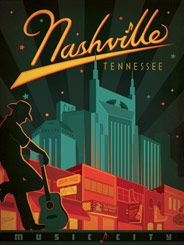 Nashville (Broadway, Music City) - After winning international acclaim for creating the Spirit of Nashville Collection, designer and illustrator Joel Anderson set out to create a series of classic travel posters that celebrates the history and charm of America's greatest cities. He directs a team of talented Nashville-based artists to help him keep the collection growing.